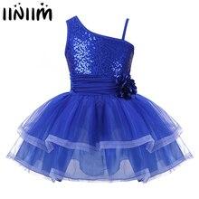 Kids Girls Dance Ballerina One Shoulder Design Sequins Flower Ballet Dancewear Costumes for Kids Gymnastics Leotard Tutu Dress