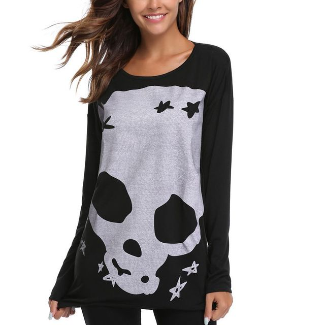 Long Sleeve Skull Print Black Hip-Hop Funny T shirts Women Summer O-Neck Tunic T Shirt 2018 Fashion Female Top Street Wear 0036