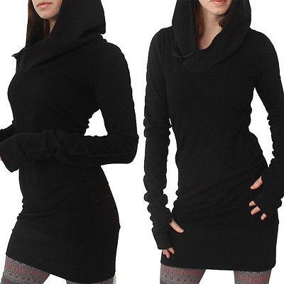 New Women Long Sleeve Casual Bodycon Hoddie Fullover Jumper Dress