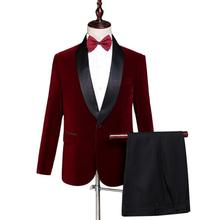 Blazer men groom suit set with pants mens wedding suits costume singer star style dance stage clothing formal dress wine red jacket pants red man s suit groom dress singer master of ceremonies host stage show serve clothing mens suits wedding