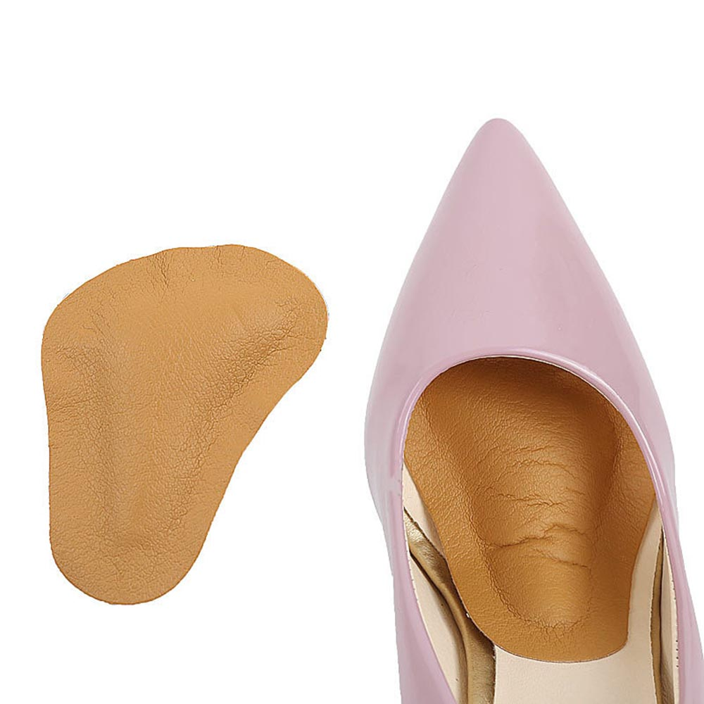 2Pcs Leather Orthopedic Arch Supports Forefoot Insoles High Heel Shoe Massage Cushion