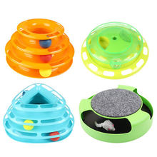 New Funny Pet Toys Cat Crazy Ball Disk Interactive Amusement Plate Play Disc Trilaminar Turntable Cat Toy