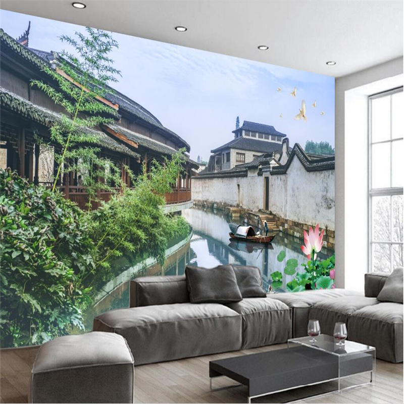 beibehang Large wallpaper murals photo custom any size new Chinese retro ancient town rural river living room wall wallpaper