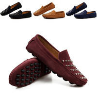 2015 Fashion Men Loafer Shoes Trendy Genuine Leather Slip On Loafers Vintage Style Men Casual Rivet