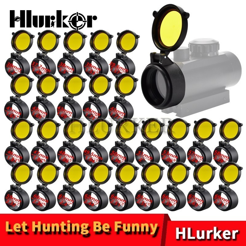 Hlurker Hunting 30-69mm Transparent Airsoft Rifle Scope Lens Cover Flip Up Quick Spring Protector Cap Yellow Objective Lense Lid