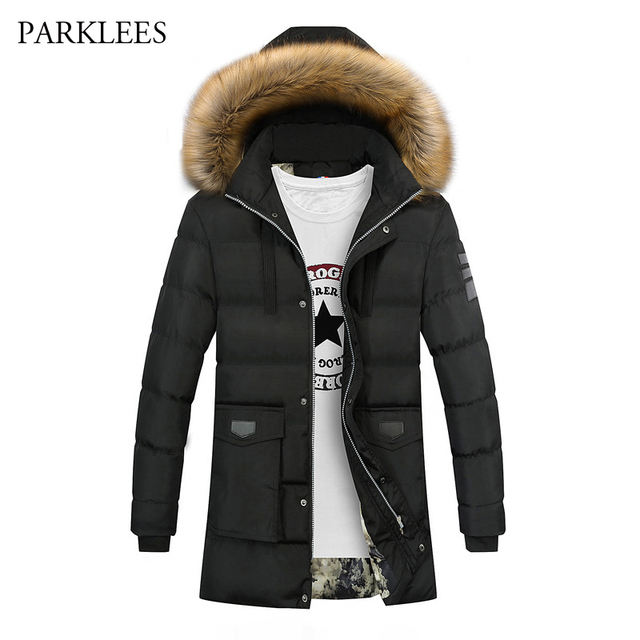 9954462906a7 New Big Fur Hooded Parka Men 2017 Winter Mens Cotton Padded Jackets Coat  Manteau Homme Hiver Zipper Thick Warm Male Outwear
