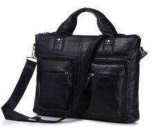 Vintage Genuine Leather Bag Men Messenger Bags Natural Skin Leather Portfolio 15.6″ Laptop Briefcase Shoulder Bags #VP-J7177