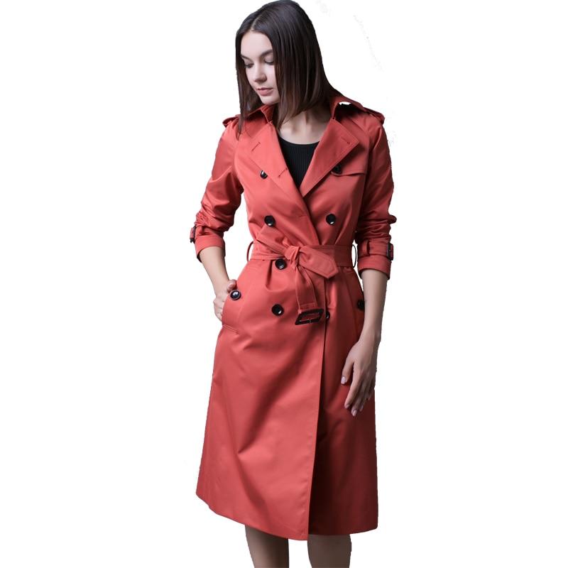 Mujer brick Polerones Double Femelle Manteau 2019 coat S Coupe Nouvelle longue Md Noir Ceinture Abrigo Chaude Femmes vent Trench 4xl Mode Boutonnage Red 1x7qqAO