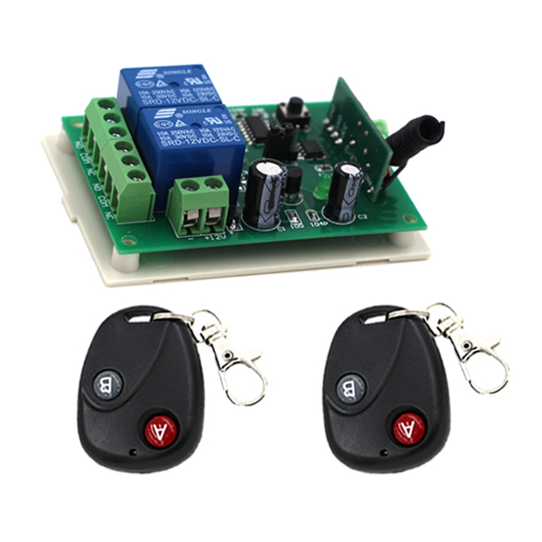 Hot sell DC 12V 24V Wireless Remote Control Switch 2CH Relay Receiver Remote Switch 315Mhz 433Mhz  цены