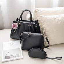 цена на Simple Women Bag Composite Handbags 3PCS/Set PU Leather Female Shoulder Bags Solid Designer Ladies Messenger Bag Casual Totes