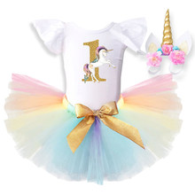 Baby Dress Birthday 1 Year Newborn Baptism Gowns Unicorn Outfit 12 Months Princess Infant dresses Toddler Christening Tutu Dress(China)