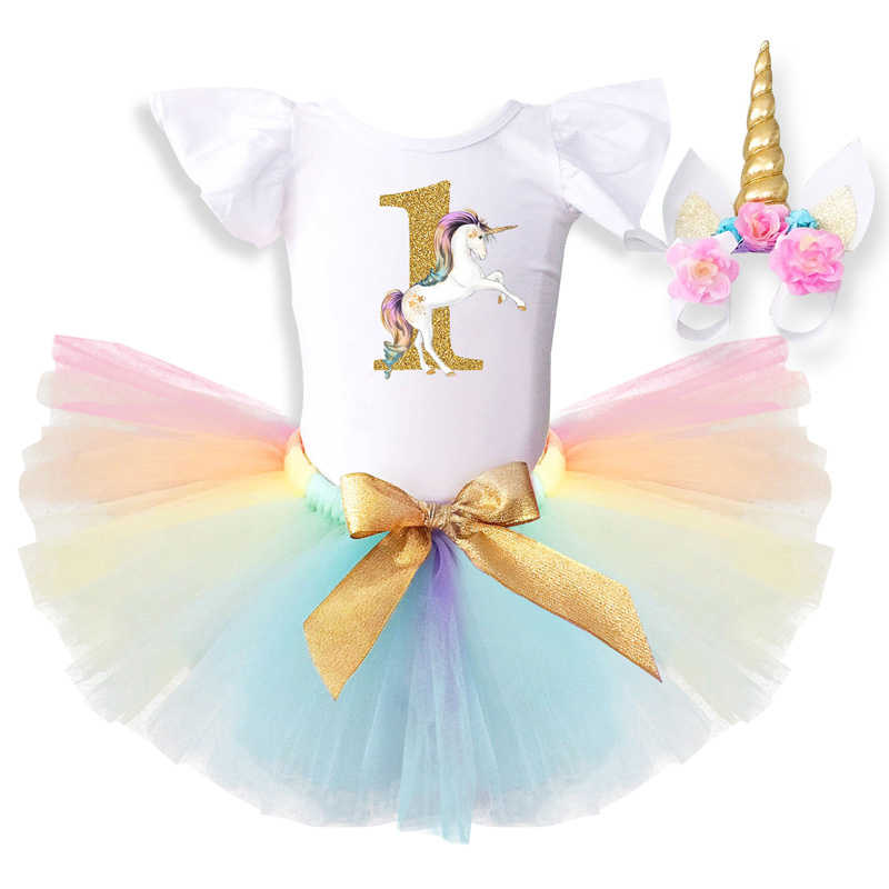 669a98ae687df Baby Dress Birthday 1 Year Newborn Baptism Gowns Unicorn Outfit 12 Months  Princess Infant dresses Toddler Christening Tutu Dress