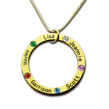 Wholesale Mom Necklace Gold Family Name Necklace Engraved Kids Name Pendant Birthstone Mother Necklace personalized birthstone engraved name ring gold color family stackable ring for mother