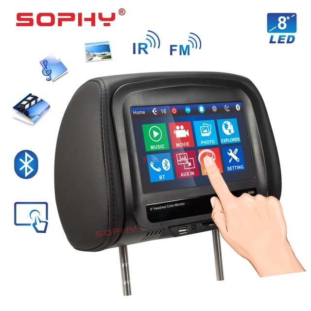 New! 8 inches Car Headrest Monitor MP4/MP5 Video Player Pillow Monitor with IR FM Touch Screen Phone Charging SH8068-P5