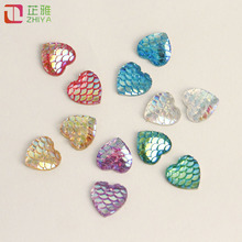 ФОТО 12mm diy handmade flat bottom resin heart cabochon fish scale ab sequin jewelry accessories earring pendant making loose beads