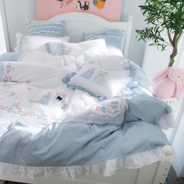 IvaRose 2018 Tencel Bedding Set Flower Luxury Embroidery Bed Sets Bed Sheet  4/7Pcs Queen