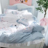 IvaRose 2018 Tencel Bedding Set Flower luxury embroidery bed sets Bed Sheet 4/7Pcs Queen king size duvet cover sets for girls