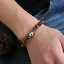 HOBBORN Trendy Devils Eye Charm Bracelet For Women Men High Quality Tiger Eyes Handmade Strand Healing Reiki Yoga Bracelets