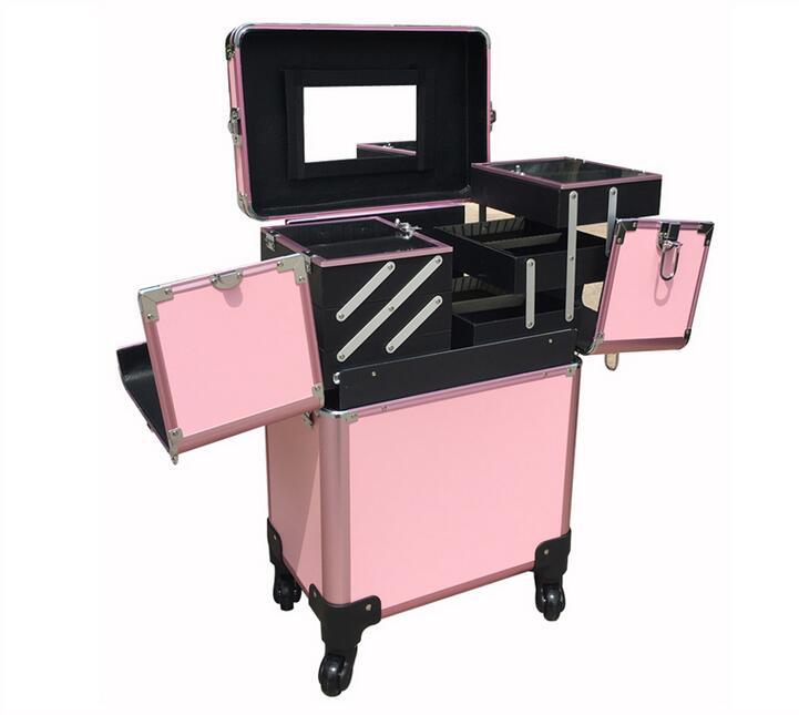 Munsu Boîte Multicouche Chariot Kit Miroir De rose Maquillage Beauté En Noir Couvercle Poudre Aluminium À Cas Professionnel Pw8IqwX
