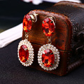 Size of the red oval charm rhinestone earrings #E073