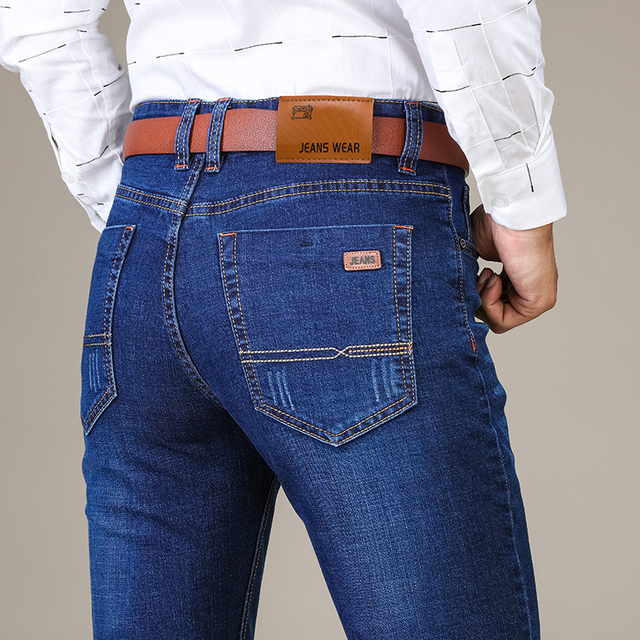 Brother Wang Brand 2019 New Men's Fashion Jeans Business Casual Stretch Slim Jeans Classic Trousers Denim Pants Male 101