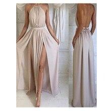 Neue Ankunft Einfache A-Line Abendkleid Sexy Split Side Langes Abendkleid Khaki Farbe Satin Vestidos De Noche