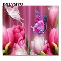 Hot Sale Diamond Painting 100 Full Square Drill Pink Rose Butterfly Home Decoration Cross Stitch Mosaic