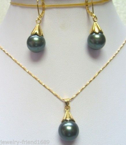 106e040b3ba8 Envío libre  nueva moda 12mm negro Shell perla pendiente collar pendiente  conjunto
