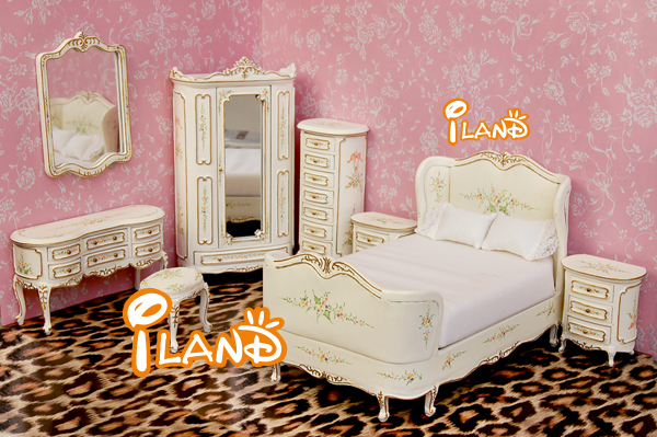 iland 1/12 Dollhouse Victorian Bedroom Furniture Set Jamaica Bed ...