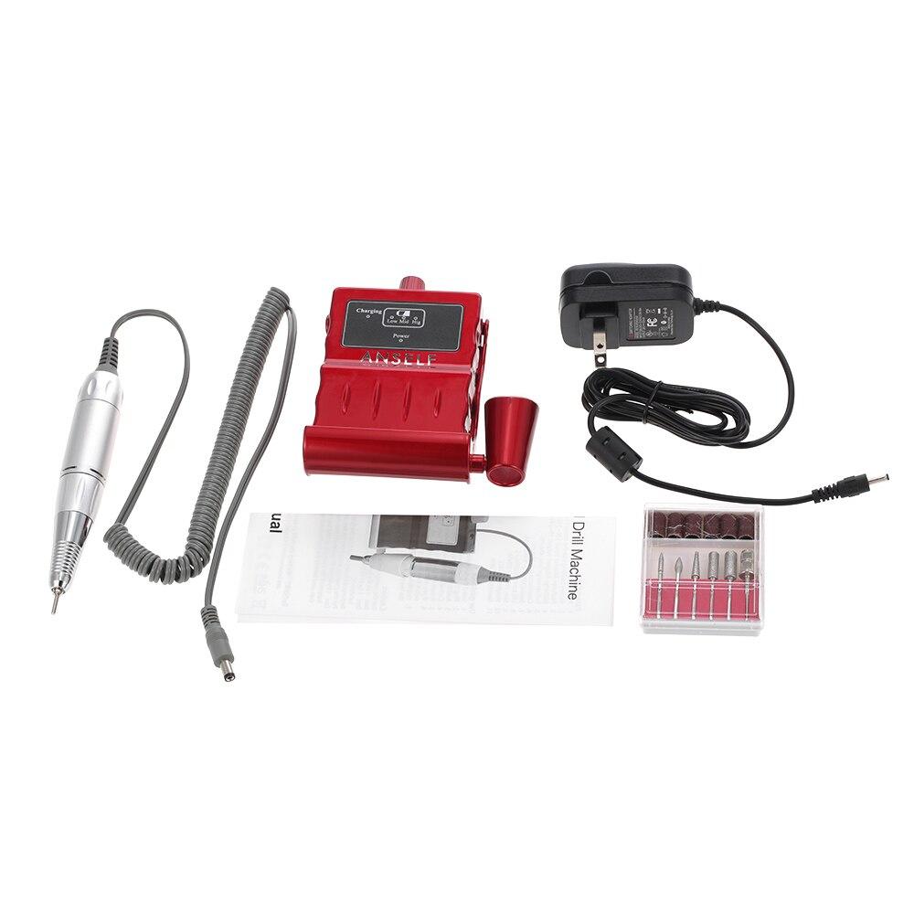 Anself Électrique Nail Forage Machine Portable Mini Polisseuse Nail Conseils Manucure Kit Nail Art Pen Pédicure Bits Nail Art Outil kit