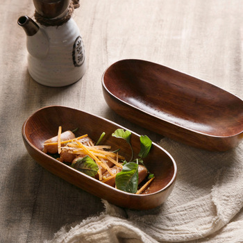 Japanese Style Dried Fruit Dish Solid Wood Tableware Food Serving Tray Desserts Snack Dishes Household Plate Dinnerware