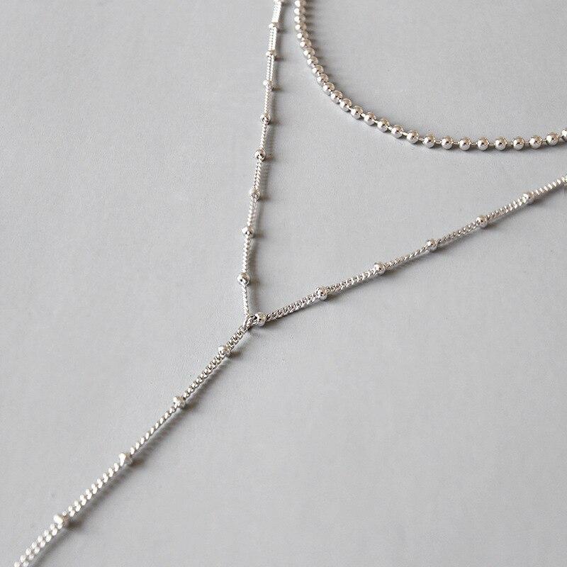 HFYK 2019 or perles rondes chaîne colliers pour femmes Long Collier court Collier Joyas de plata 925 Collares Kolye Collier
