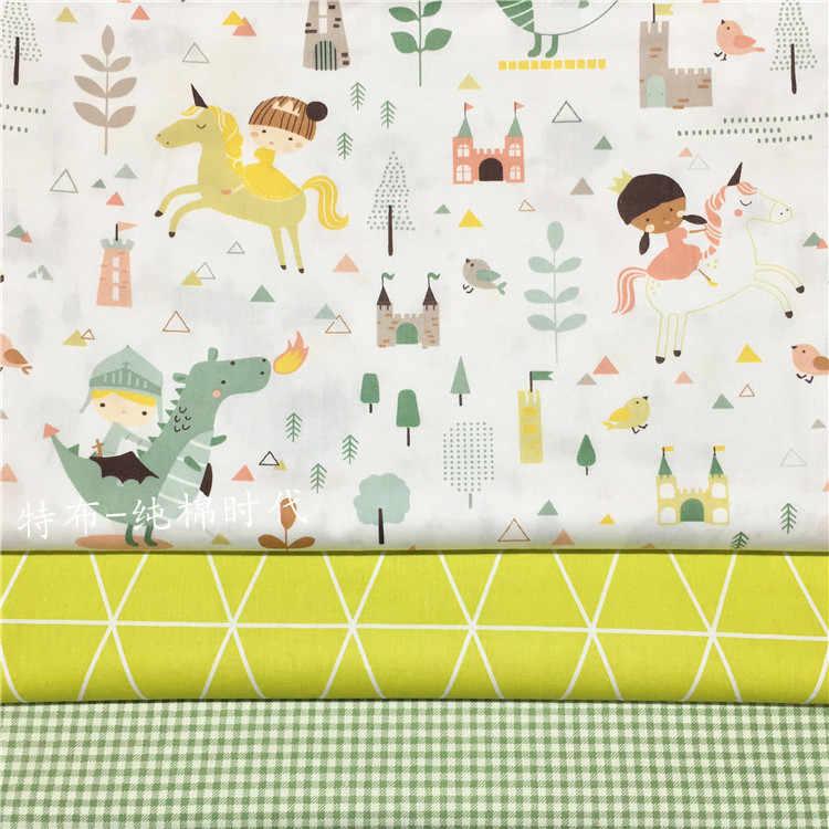 160x50cm dibujo de caballero dinosaurio unicornio sarga tela de algodón bricolaje ropa de niños ropa de cama edredón decoración hogar 160 g/m