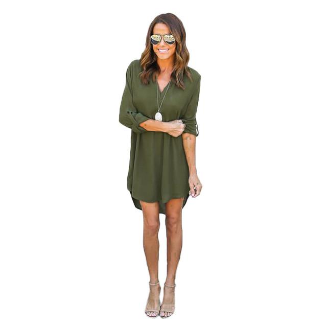 High Quality Autumn Dresses 2017 Fashion Women Casual Loose Plus Size Elegant Dress Long Sleeve Irregular Chiffon Dress Vestidos