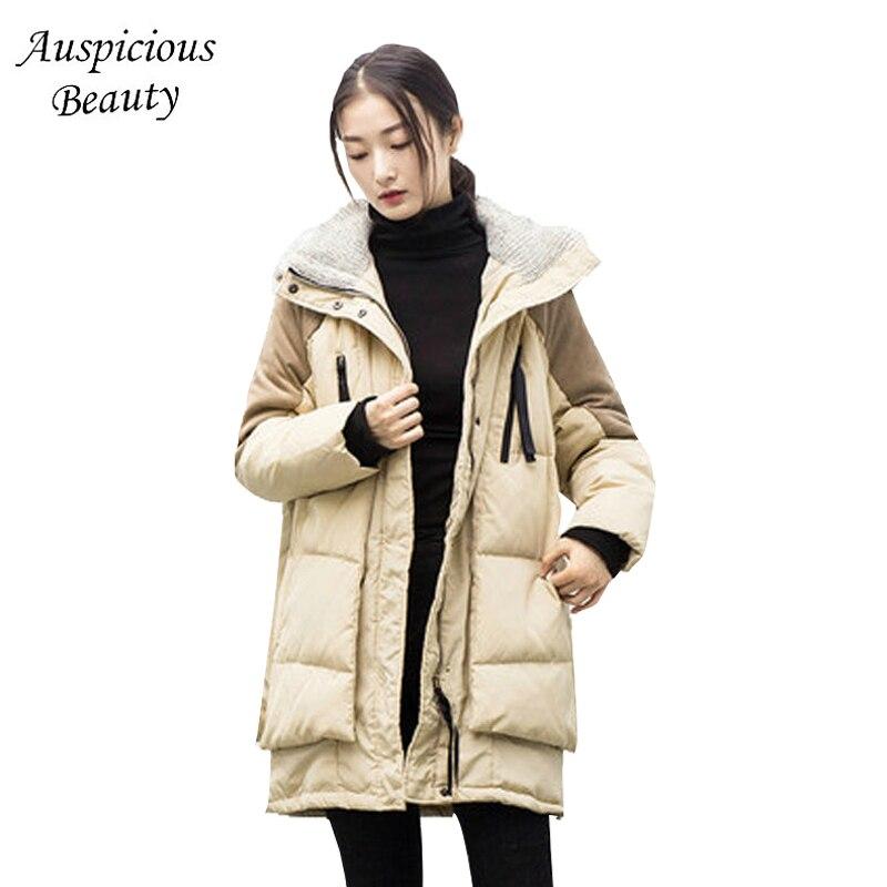2017 Womens Long Winter Warm Down Coat Women Ultra Light White Duck Down Jacket Womens Hooded coats Female Jackets SHZ54