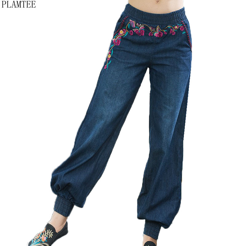 PLAMTEEE Embroidery Jeans For Women Big s