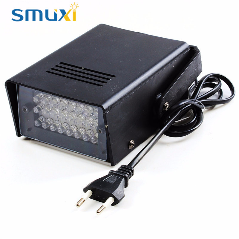 Smuxi 3W 24 LED Stage Light DJ Strobe Lamp Disco Party Club KTV Stroboscope White Red Bule Green Stage Lighting Effect  AC220V mini rgb led party disco club dj light crystal magic ball effect stage lighting