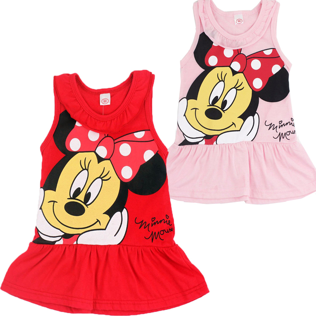 2018 Cute Christening Baby Summer Dress Minnie Mouse Birthday Outfit Sleeveless Vest Newborn Little Girls Clothing Baptism