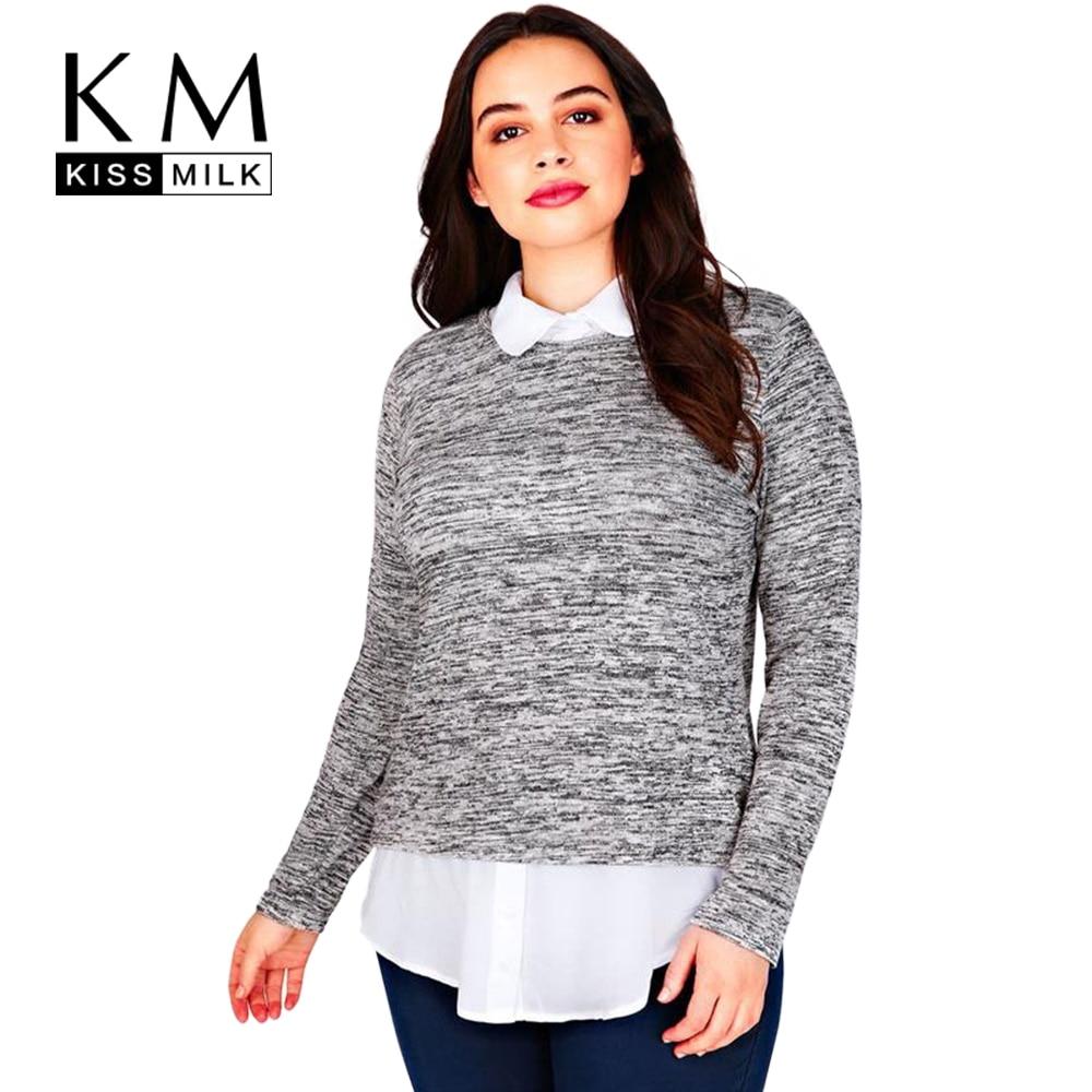 Kissmilk Plus Size Fashion Women Casual Fake Two Piece Style Blouse Shirt Long Sleeve Big Size
