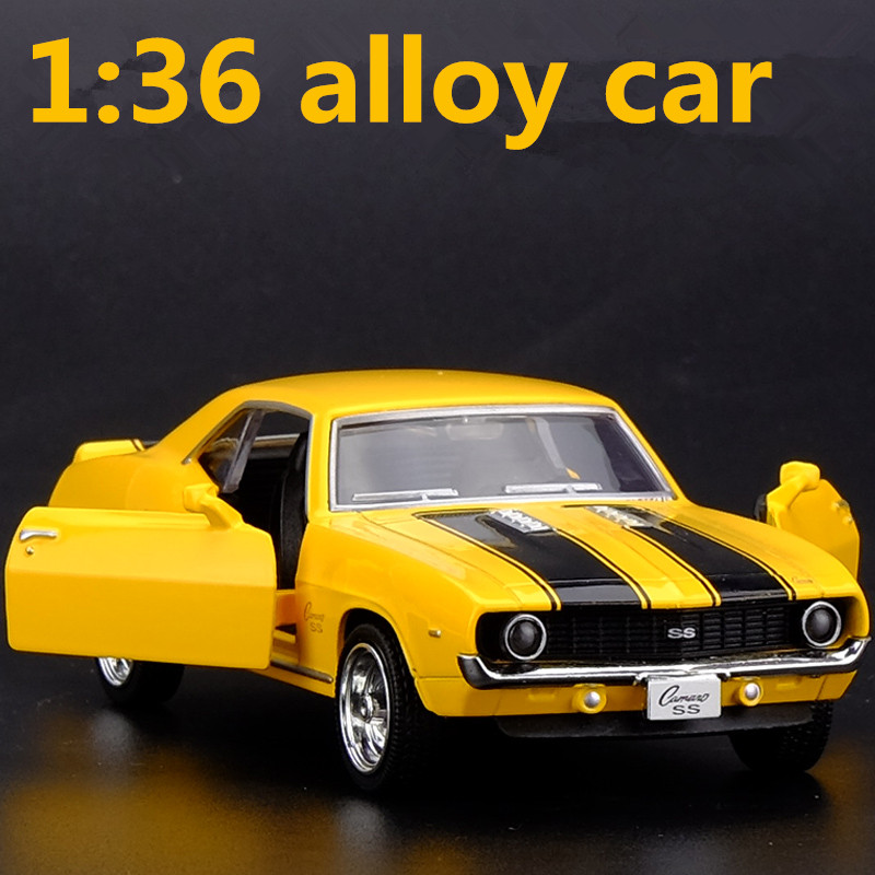 1:36 Alloy Car Models,high Simulation Camaro Supercar Toys, Metal Diecasts, Pull Back Toy Vehicles, Free Shipping