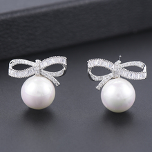 SISCATHY Hot Women Stud Earrings Elegant Cubic Zirconia Bowknot Simulated Pearl For Bridal Wedding Jewelry Accessories