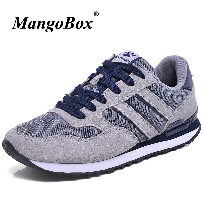2018 Hot Sale Sports Shoes Mens Mesh Breathable Mens Designer Shoes Blue Gray Running Mens Shoes Low Top Mens Gym Trainers