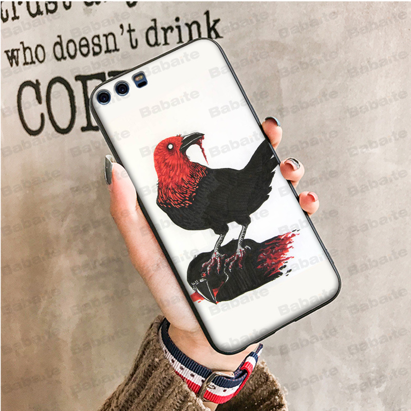 Babaite animal crow DIY Painted Beautiful Phone Accessories Case for Haiwei P10 plus Honor 9 10 View 10 Mate 9 NOVE3E in Half wrapped Cases from Cellphones Telecommunications