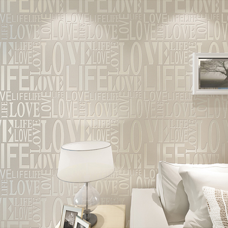 3D Embossed Wallpaper Modern Fashion English Letter Pattern Non-Woven Wall Papers Living Room TV Sofa Background Wall Home Decor simple striped lines modern wall papers home decor wallpaper for living room bedroom tv sofa background wallpaper for walls 3 d