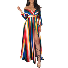 YJSFG HOUSE Boho Women Dresses Long Sleeve Holiday Striped Maxi Dress V-Neck Autumn Shirt Plus Size Harajuku Sashes Tops