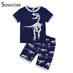 SOSOCOER Boys Clothes Set Kid Clothes Toddler Boy Clothes Summer 2019 Tracksuit Children Clothing Dinosaur Baby Set Child Shorts