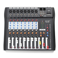 Professional Karaoke 8 Channel DJ Console Sound mixer Audio USB with Bluetooth Record Phantom With 48V Phantom Power Jack