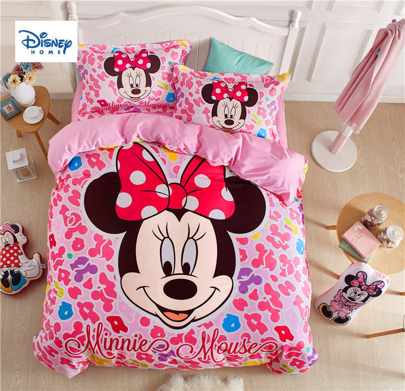 US $85.48 30% OFF|pink Minnie Mouse bedding set twin size comforter duvet  covers for kids bedroom decor queen bed sheets cotton bedspread 3 5 pcs-in  ...
