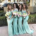 Simple Elegant Mint Green Mermaid Bridesmaid dresses Off Shoulder Lace 2017 Cheap Maid of Honor Dress Wedding Party Gown B147