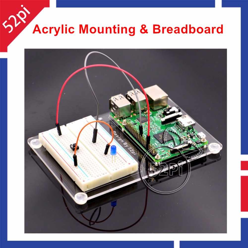 Acrylic Mount Plate Experimental Platform And 400 Tie Points Solderless PCB Mini Breadboard For Raspberry Pi 2 / 3 Model B